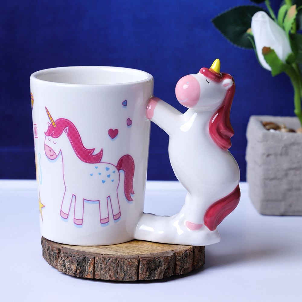 Whimsical Unicorn Handle Mug - Maroon