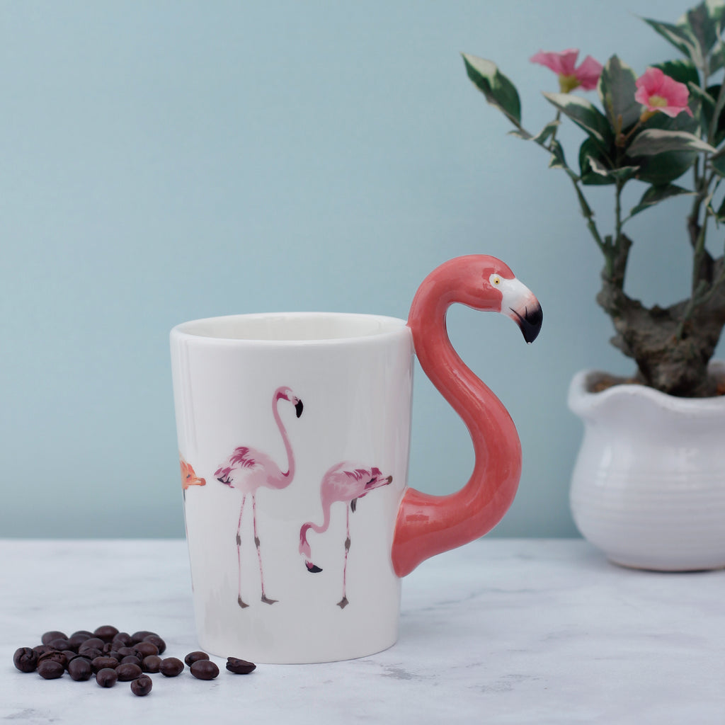 Red Flamingo Handle Mug