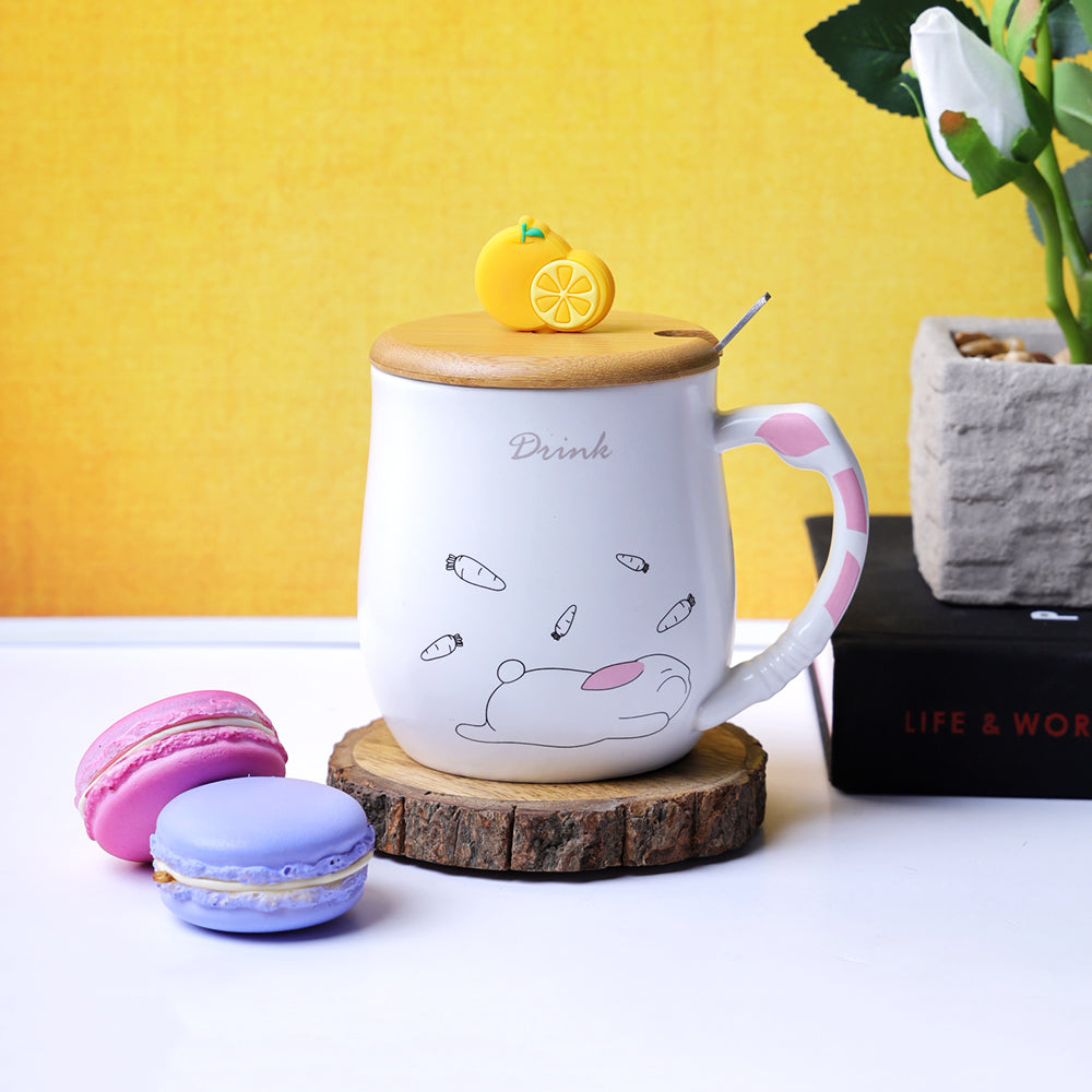 Orange Slice Lid Mug - Rabbit