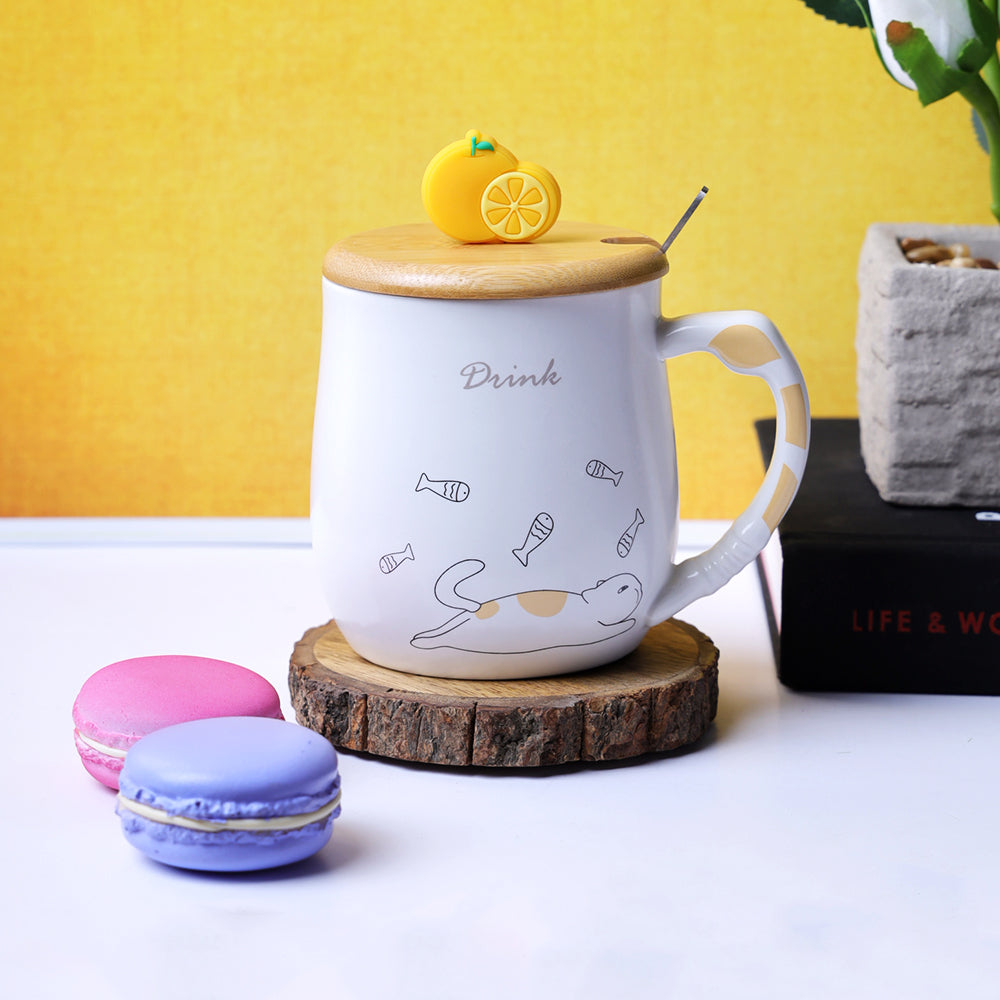 Orange Slice Lid Mug - Cat