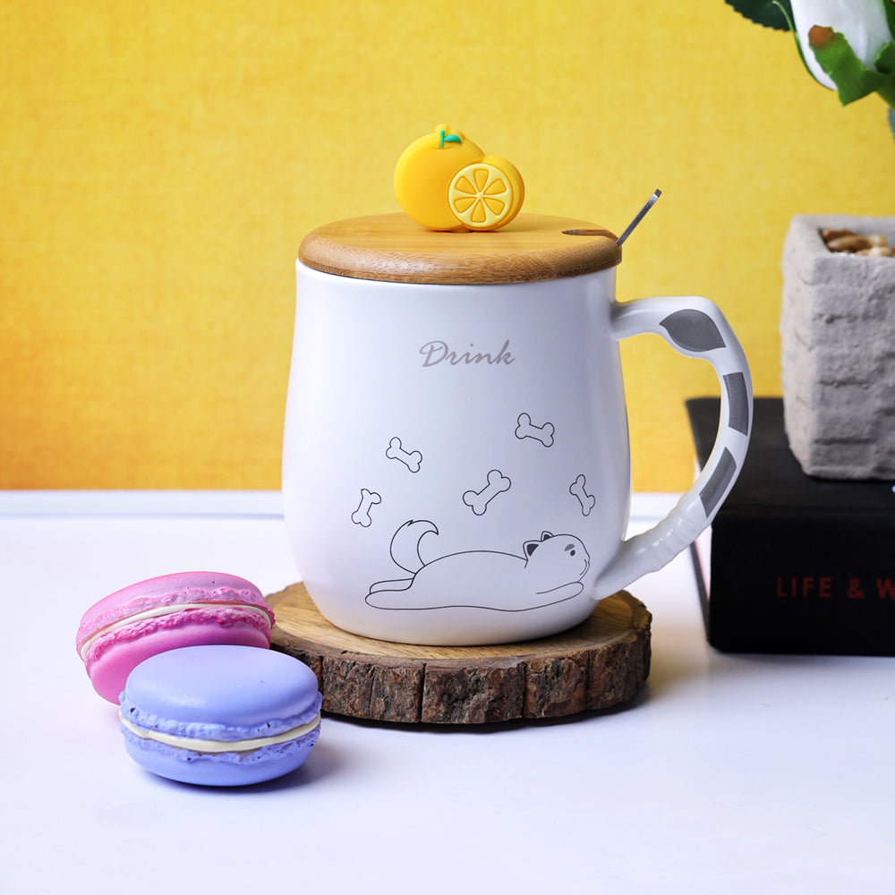 Orange Slice Lid Mug - Dog