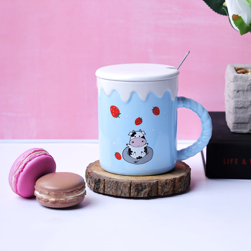 The Cute Cow Blue Mug - Strawberries