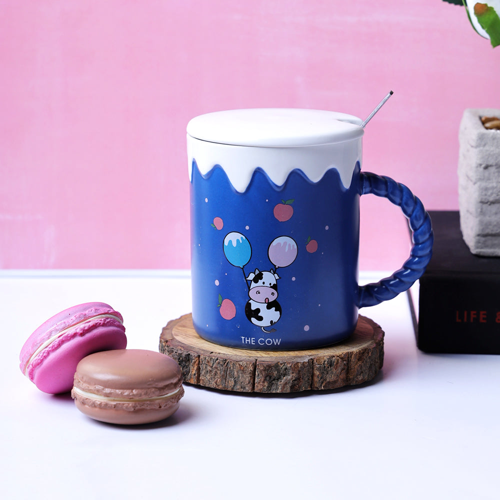 The Cute Cow Blue Mug - Apples