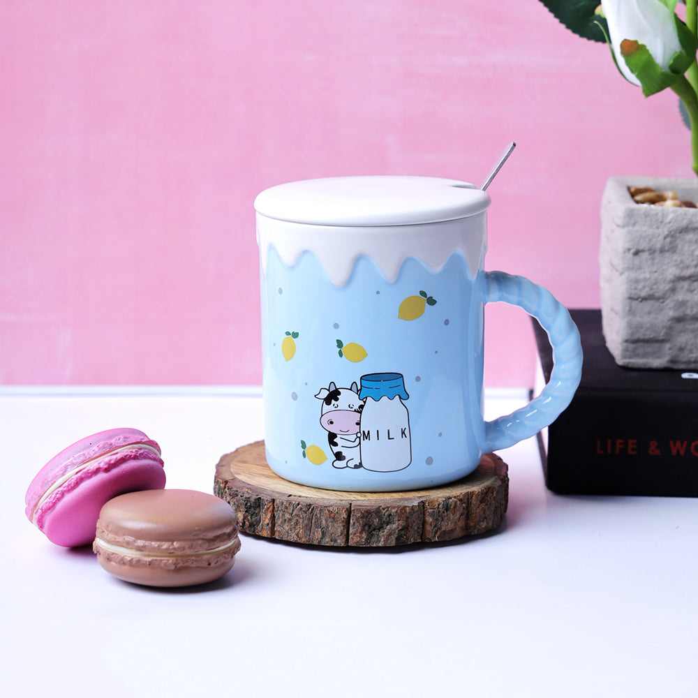The Cute Cow Blue Mug - Mangoes