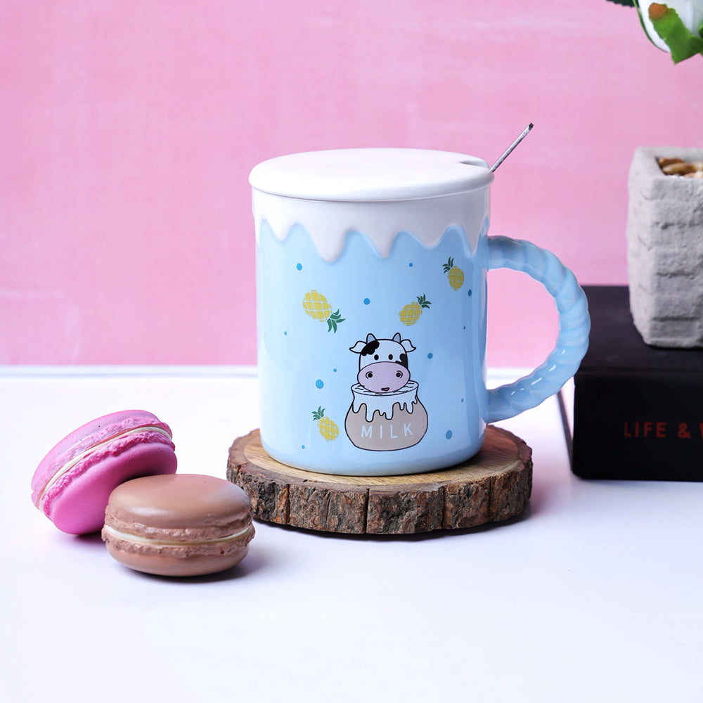 The Cute Cow Blue Mug - Pineapples