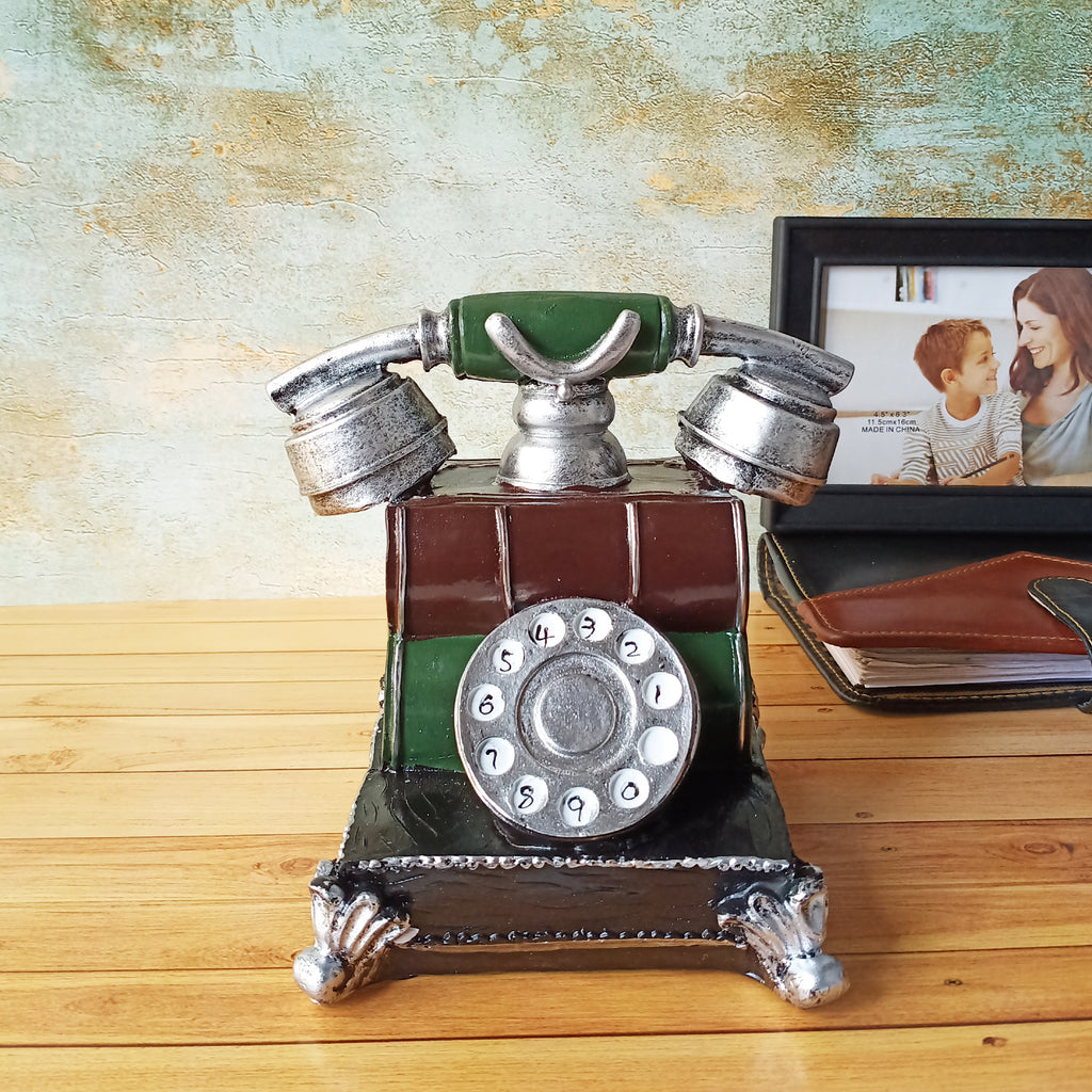 Large Vintage Telephone Decorative Accent - Silver