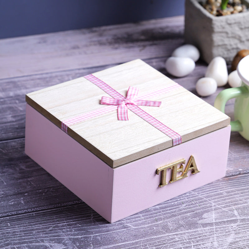 Wooden Tea Storage Gift Box - 4 Compartment