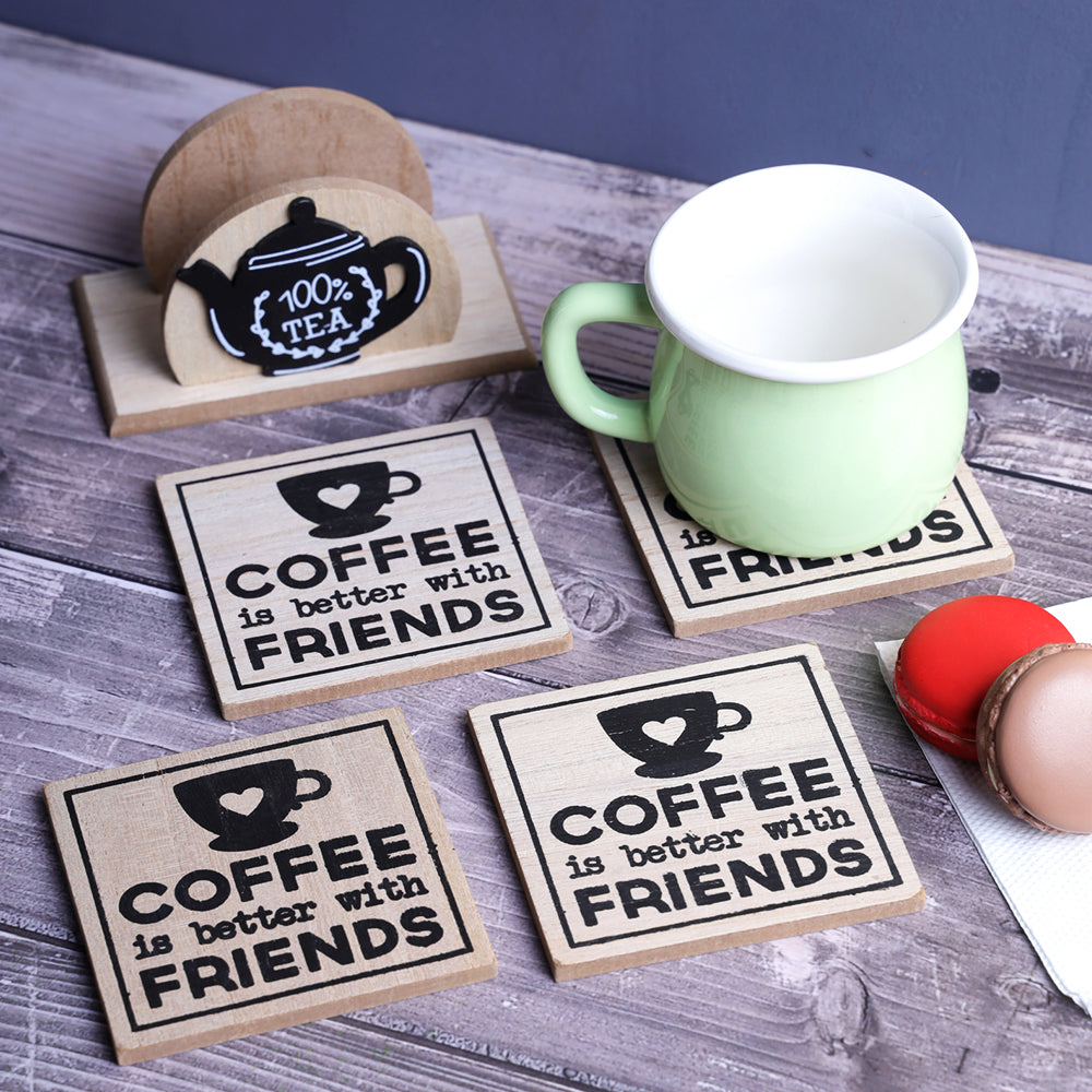 Coffee & Friends Wooden Coaster - Set of 6