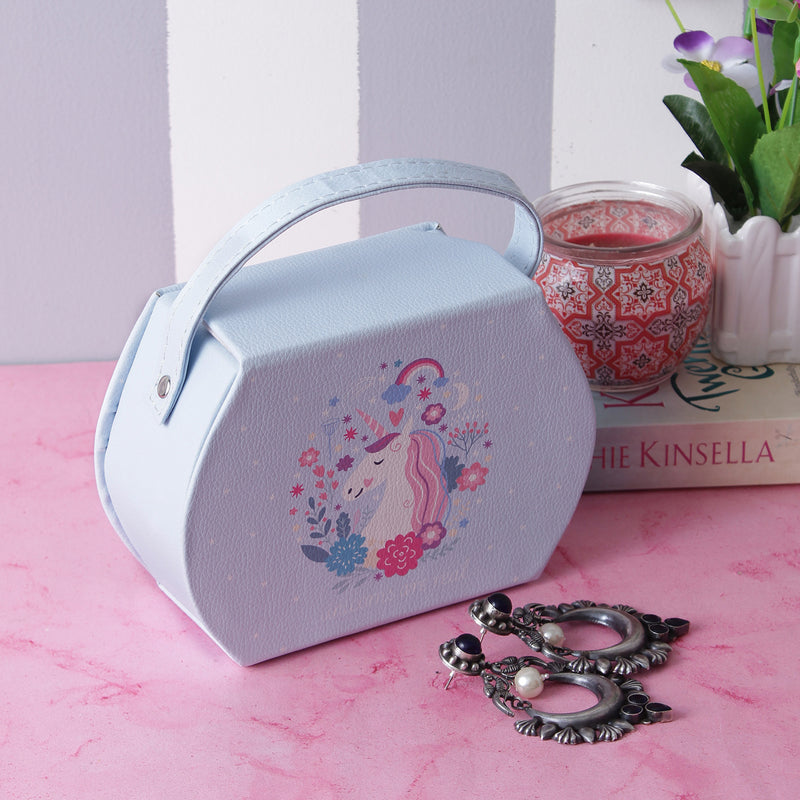 Unicorn Jewellery/Trinket Box With Handle- Blue