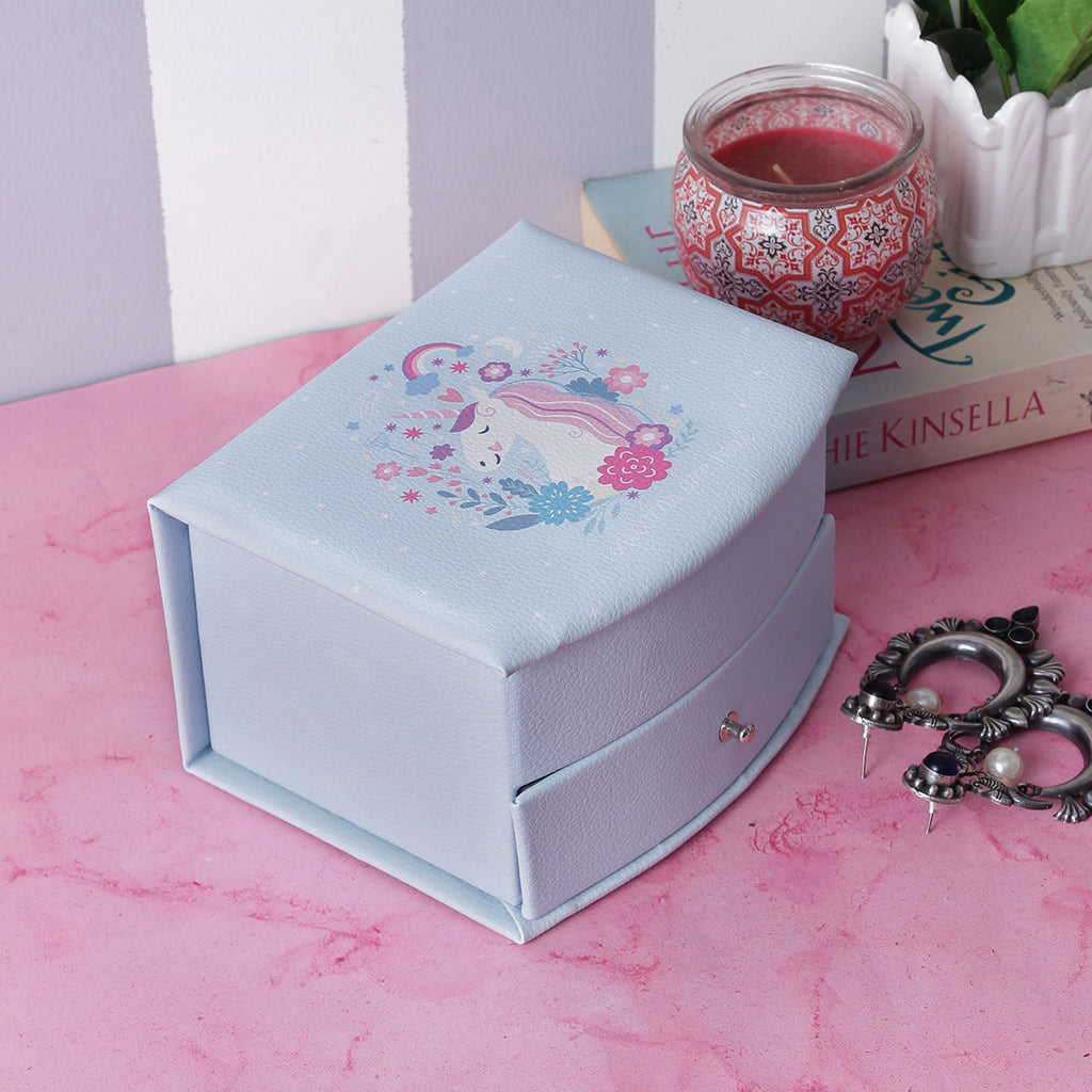 2 Drawered Unicorn Jewellery/Trinket  Box- Blue