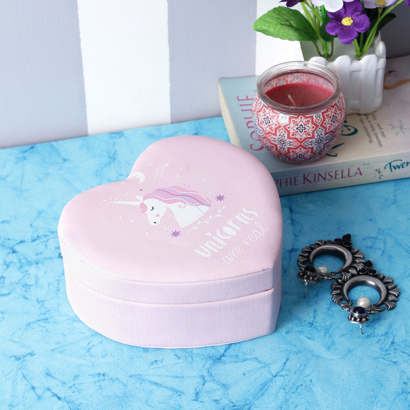 Unicorn Heart Shaped Jewellery/Trinket Box - Pink
