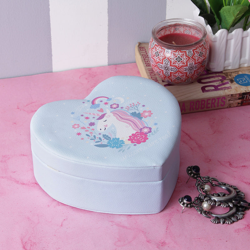 Unicorn Heart Shaped Jewellery/Trinket Box - Blue