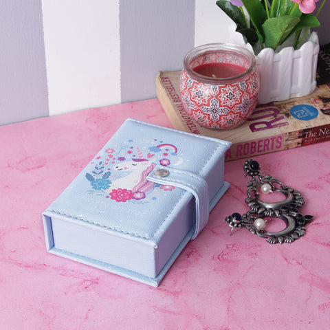 Rectangle Unicorn Jewellery/Trinket Box- Blue