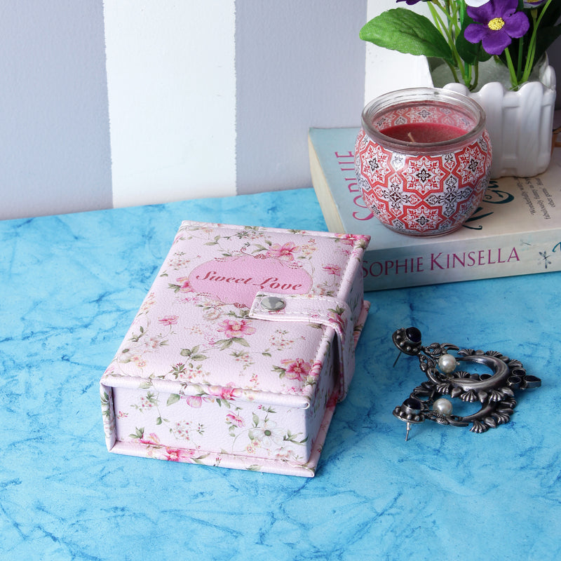 Rectangle Pink Floral Jewellery/Trinket Pouch Box