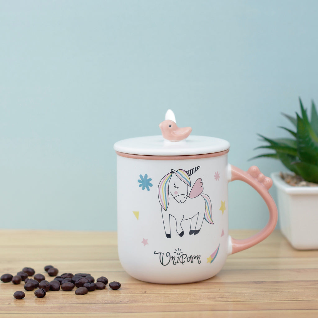 Peach Unicorn Mug with bird lid and spoon