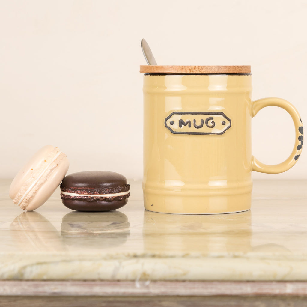 Cream Vintage Mug With Wooden Lid And Spoon