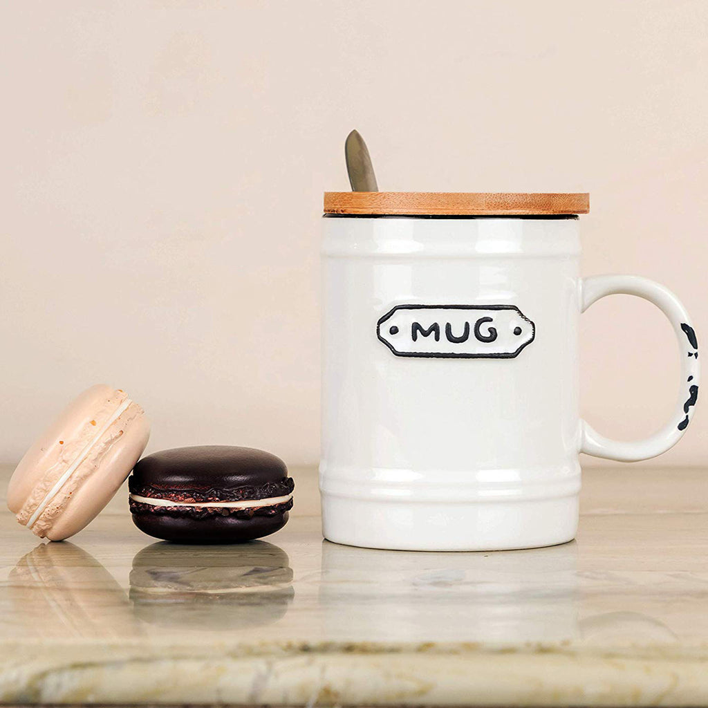 White Vintage Mug With Wooden Lid and Spoon