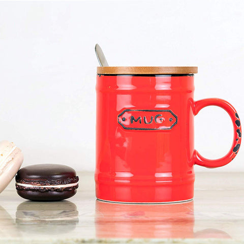 Red Vintage Mug With Wooden Lid & Spoon