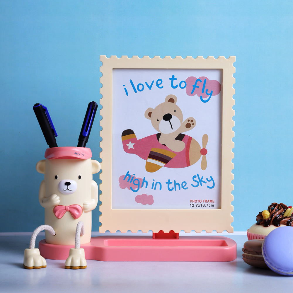 Teddy Desk Organizer & Photo Frame Set - Cream