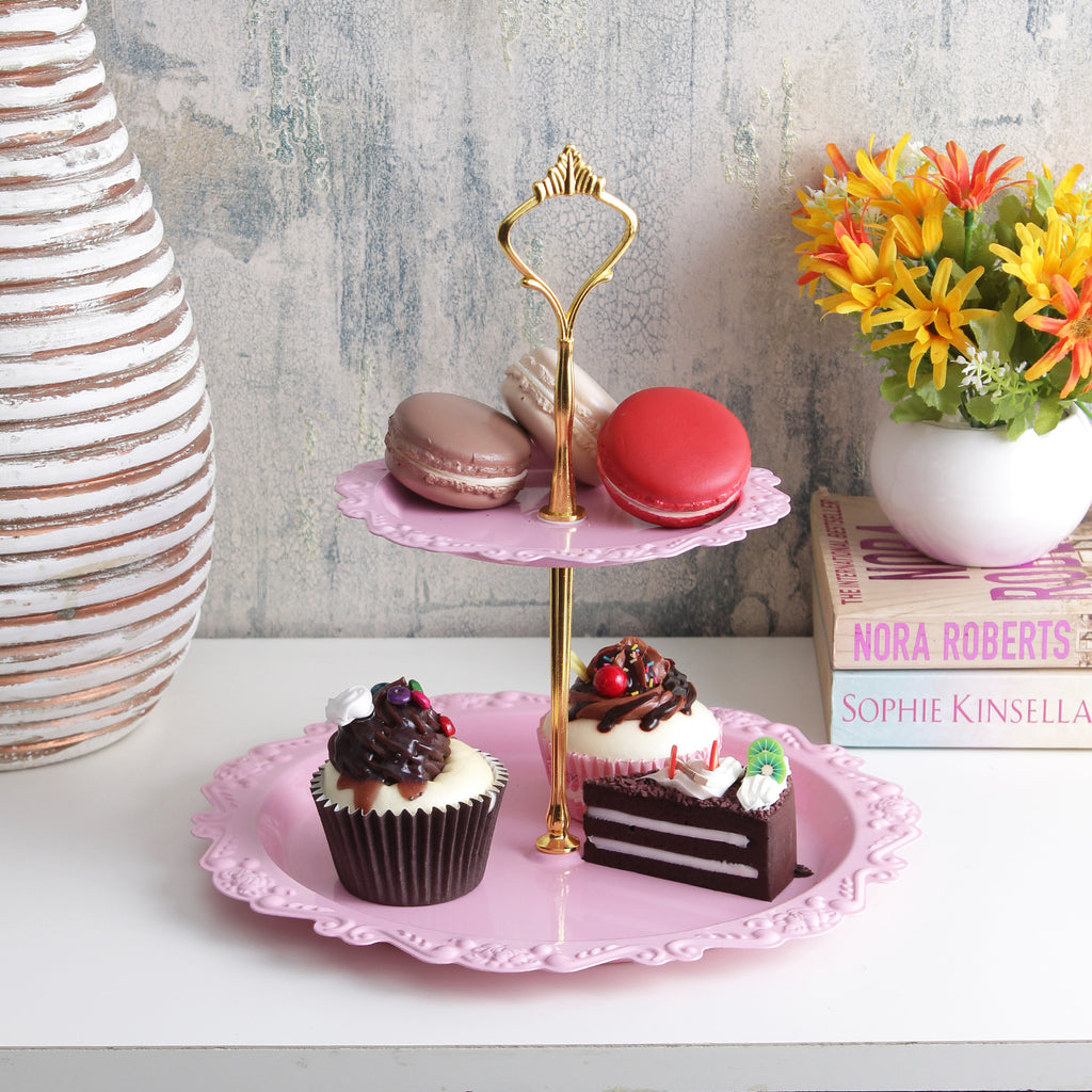 Classic 2-Tier Cake Stand - Pink