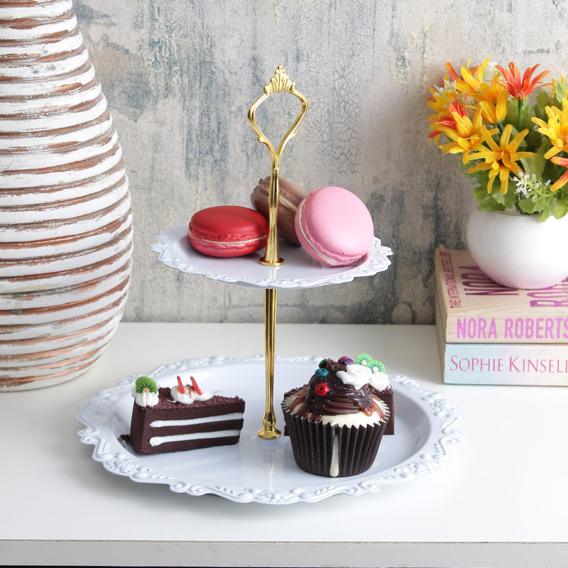 Classic 2-Tier Cake Stand - White