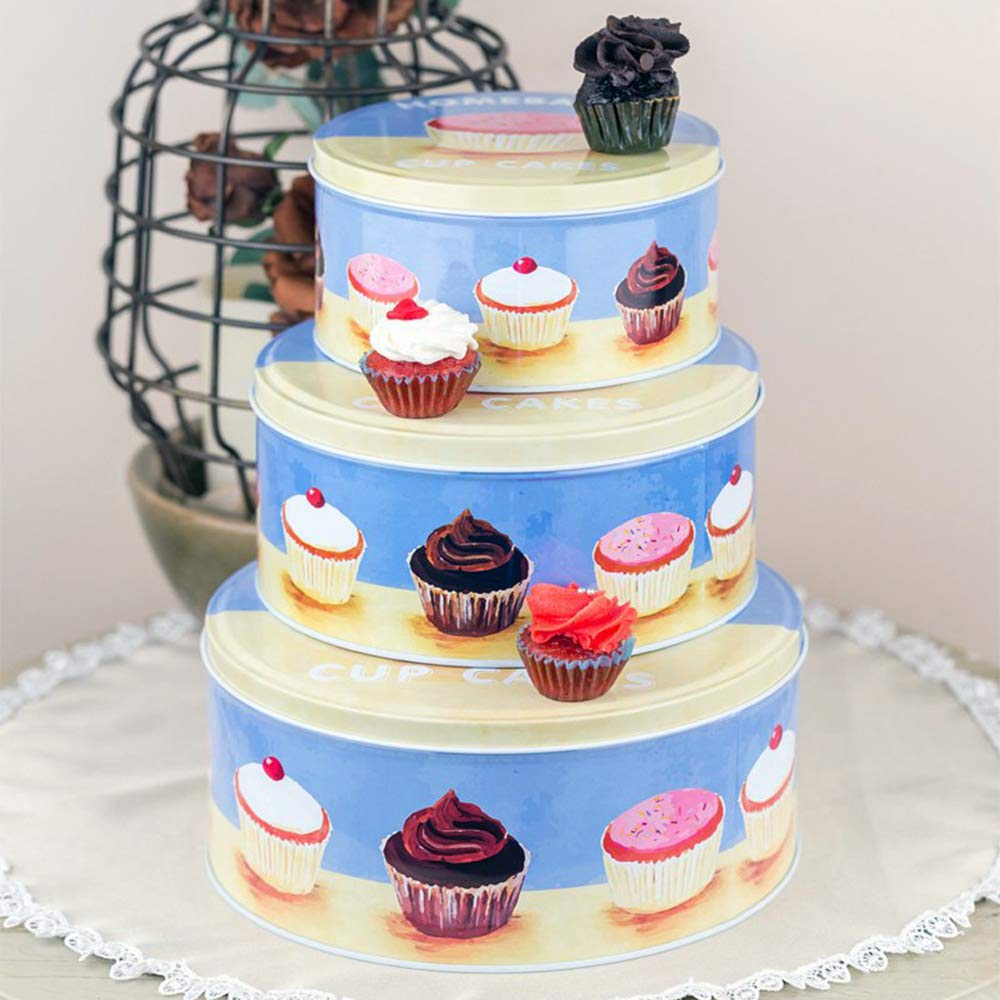 Blue Cupcake Metal Tins