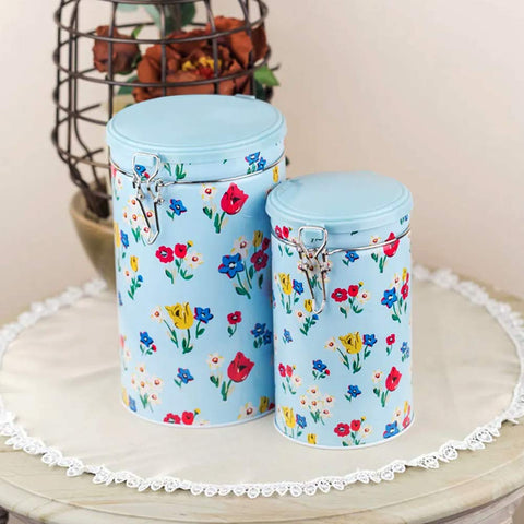 Blue Floral Metal Tins