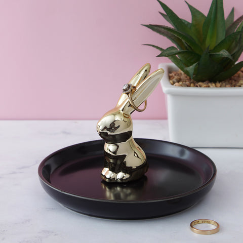 Golden Rabbit Trinket Dish