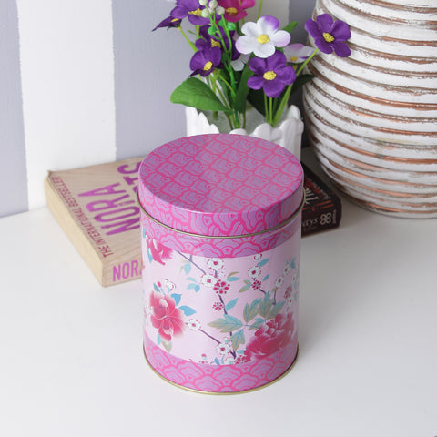Round Pink Rose Storage Metal Tin