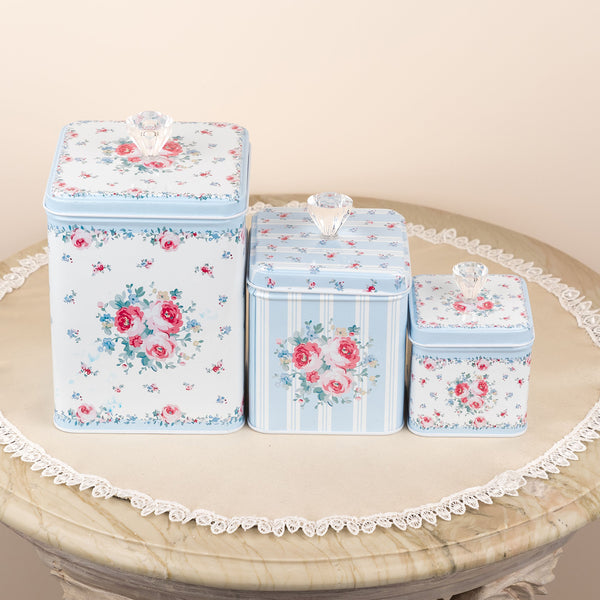 Beautiful Floral Storage Metal Tin With Glass Knob (Set Of 3)
