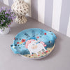 Round Blue Unicorn Metal Tin Tray