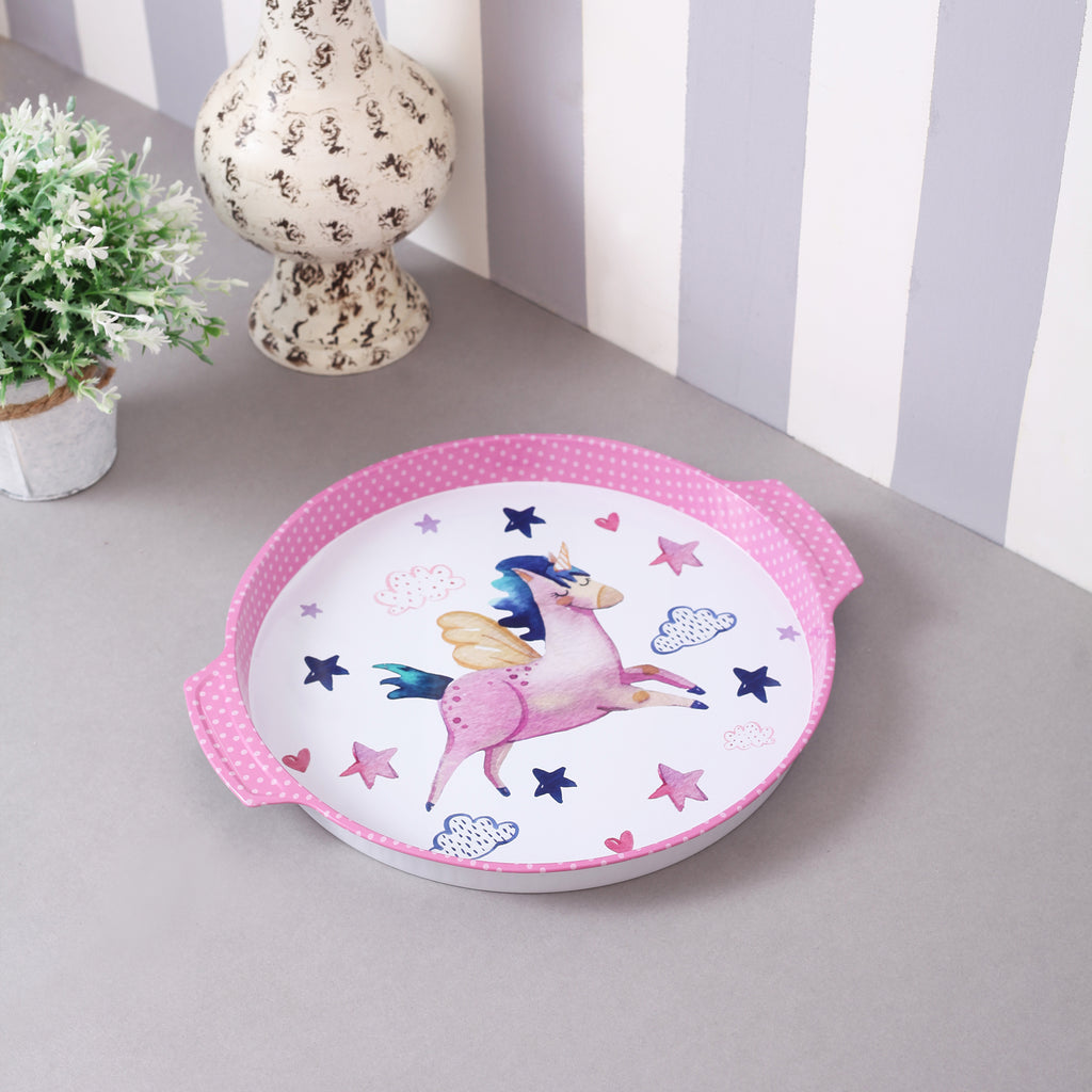 Round Star Unicorn Metal Tin Tray