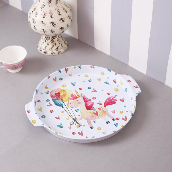 Round White Hearts Unicorn Metal Tin Tray