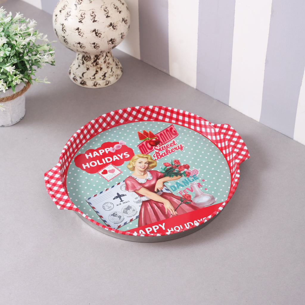 Red Vintage Coffee Metal Tin Tray