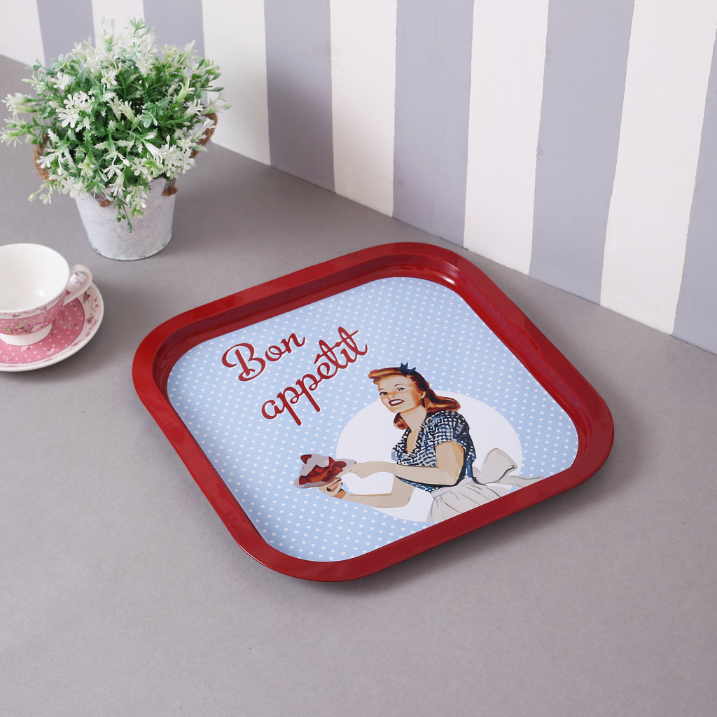 Bon Appetit Metal Tin Serving Tray