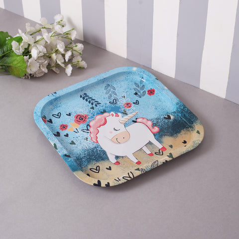 Blue Unicorn metal tin tray (Dark Blue)
