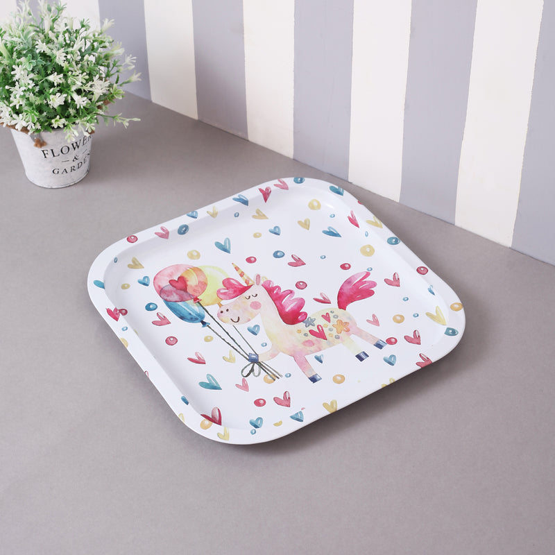 White Hearts Metal Tin Tray