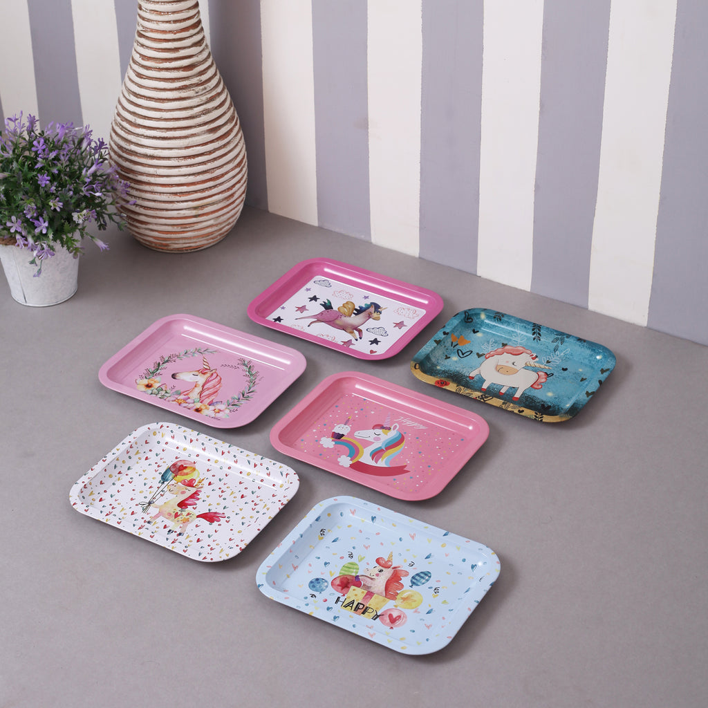 Cute Unicorn Mini Serving Trays (Set Of 6)
