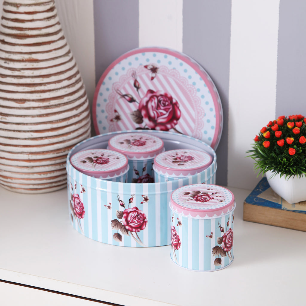 Rose Floral Metal Tins With Purple Stripes (Set Of 5)