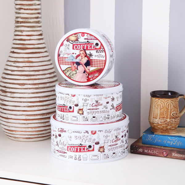 Retro Round White Metal Tins ( Set Of 3)