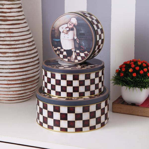 Cute Italian Chef Round Metal Tins (Set Of 3)