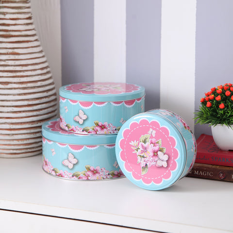 Pink And Blue Floral Round Metal Tins (Set Of 3)