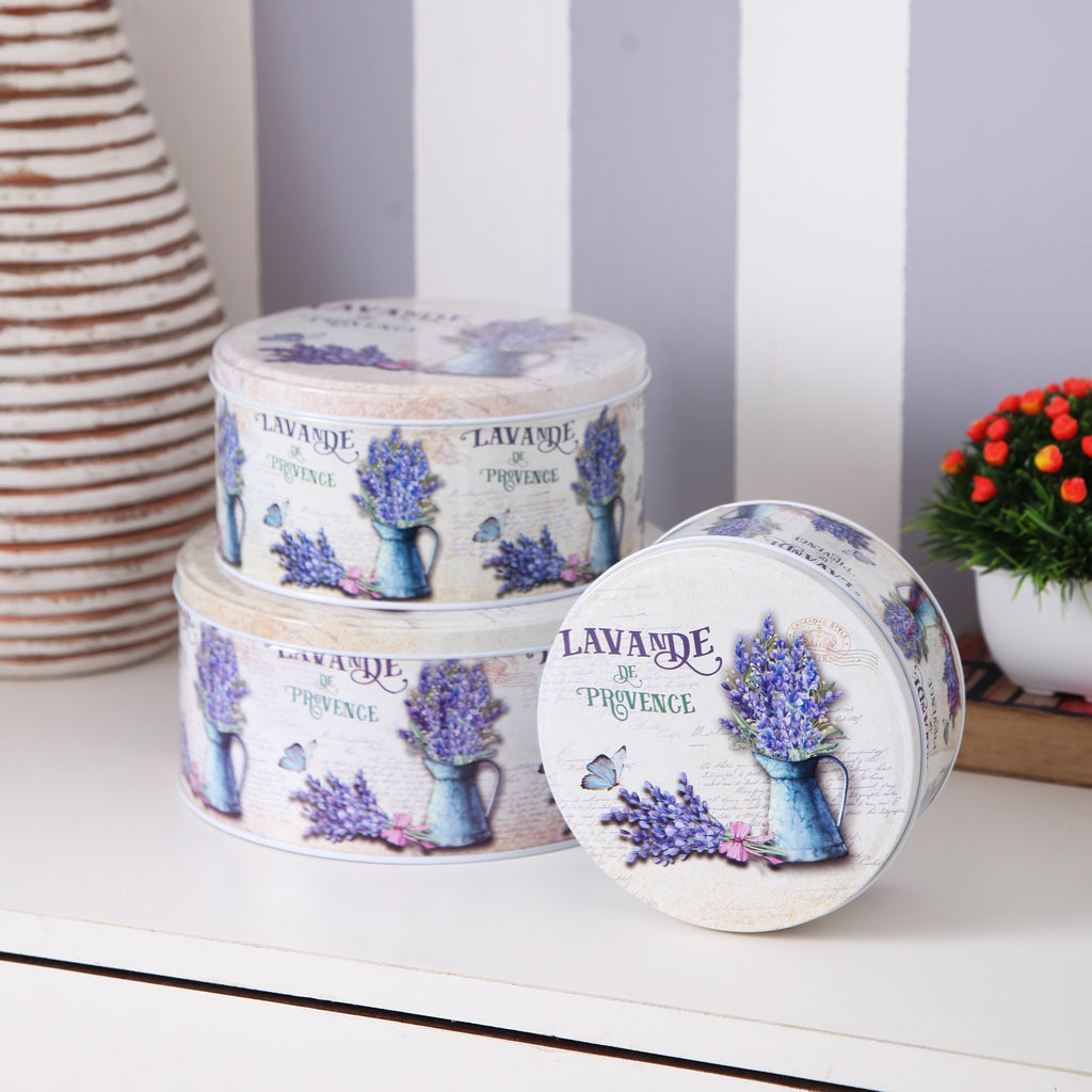 Round Lavender Metal Tins (Set Of 3)