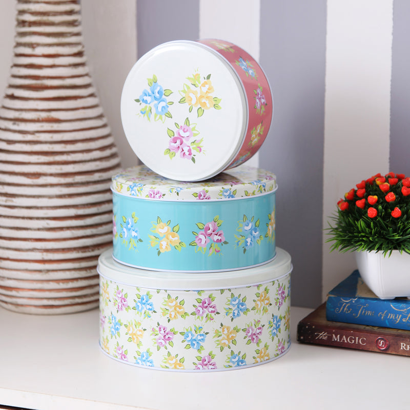 Pretty Yellow Top Floral Metal Tins (Set Of 3)