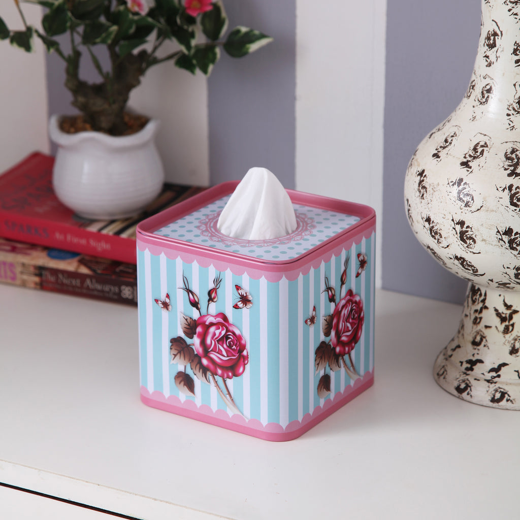 Square Rose Stripes Tissue Box