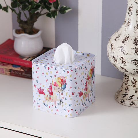 Square White Hearts Unicorn tissue box