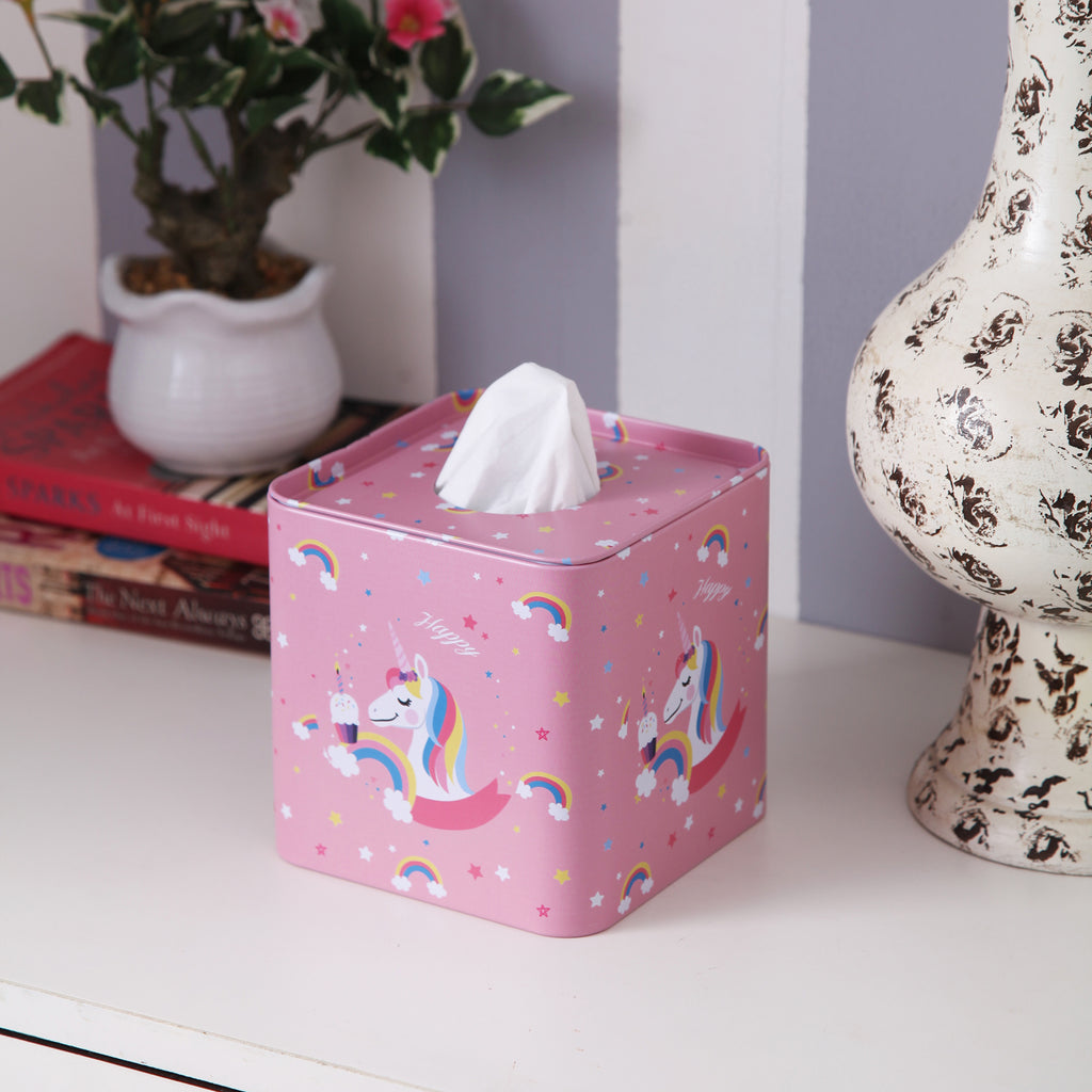 Square Pink Unicorn Tissue Box