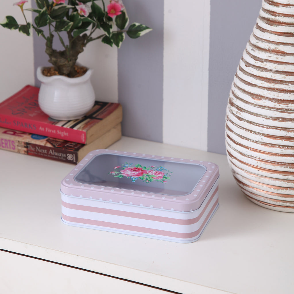 Floral Polka Dot Flat Metal Tin Box