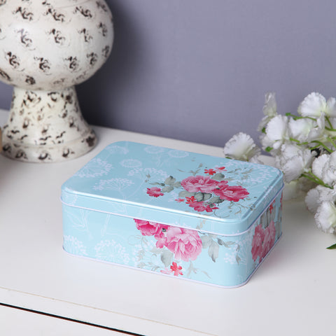 Pretty Pink Floral Multipurpose Storage Tin Box