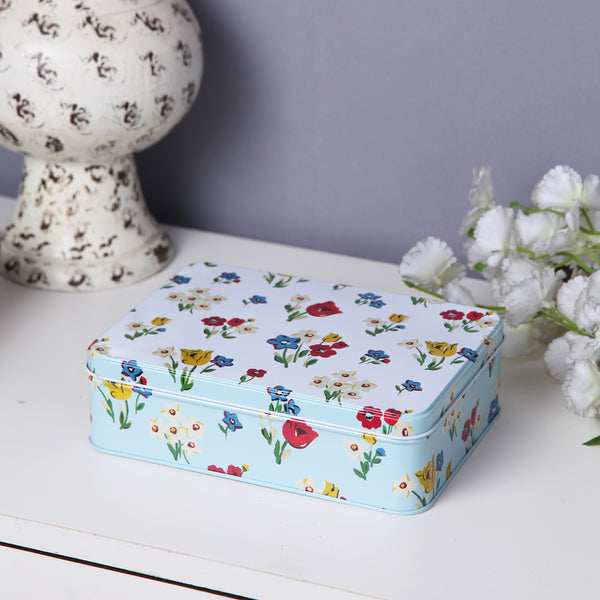 Rectangle White Floral Multipurpose Storage metal tin box